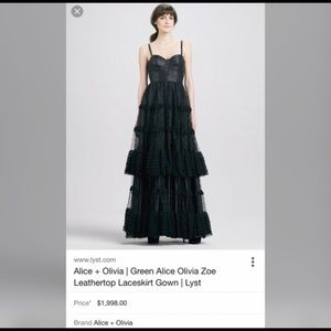 Black Alice Olivia tulle and leather gown